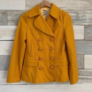 Tulle // Wool Blend Pea Coat // Mustard Yellow